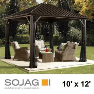 NEW SOJAG DAKOTA METAL GAZEBO - 129531221 - 10' x 12' ALUMINUM STRUCTURE STEEL ROOF GAZEBOS SHADES SHELTER SHELTERS C...