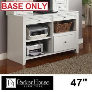 "NEW* PHF BOCA 47"" CREDENZA DESK - 129274353 - PARKER HOUSE FURNITURE WHITE SHELVES DRAWERS DESKS TABLE TABLES OFFICE ..."