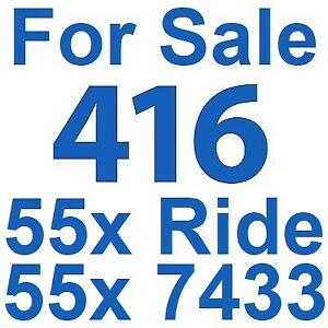 For Sale: 416 Area Code Phone Number 416.55x.7433 • 416.55x.RIDE