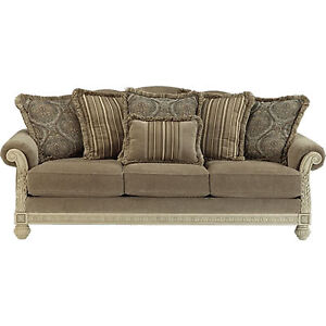 High End Platinum Sofa and Love Seat