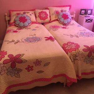 Twin beds and bedding