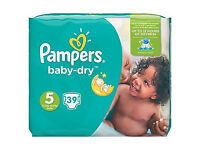NAPPIES size 5 baby dry Pampers