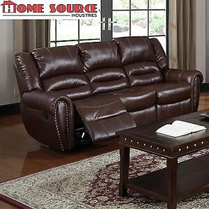 NEW HOME SOURCE RECLINER SOFA U-13600-S BROWN 136556058 BROWN FAUX LEATHER