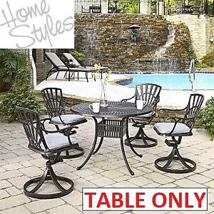 NEW HOME STYLES 42'' PATIO TABLE 5560-30 186690870 ROUND CAST ALUMINUM METAL OUTDOOR LARGO
