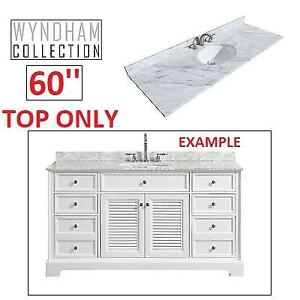 NEW WYNDHAM 60'' VANITY MARBLE TOP 215988227 WHITE CARRERA OVAL SINGLE