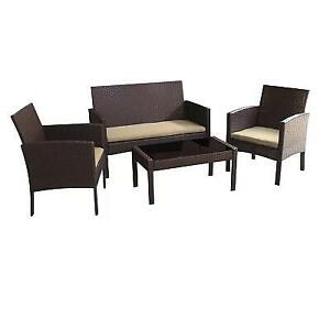 NEW 4PC PATIO SOFA SET F8111-BEI 245598582 CONVERSATION BEIGE CUSHIONS TESSIO WORLD MENAGERIE