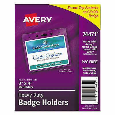 Secure Top Heavy-duty Badge Holders Horizontal 4w X 3h Clear 25pack 74471