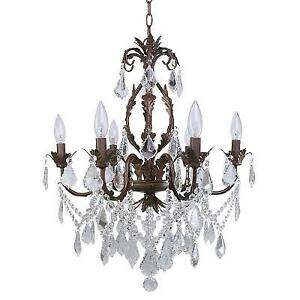 6-Light Iron & Crystal Chandelier - Spotless & Ready to Install!