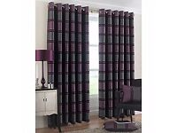 Double Royal Modern Curtains purple grey long Striped Eyelet Ring Curtains