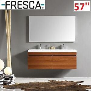 "NEW* FRESCA 57"" LARGO VANITY SET FVN8040TK 224891894 DOUBLE TEAK CABINET VANITY TOP MIRROR BATHROOM"