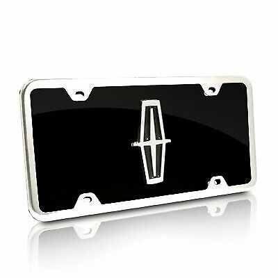 Black Acrylic License Plate (Lincoln Black Acrylic License Plate with Chrome Frame)