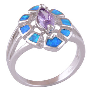 Gorgeous Fire Opal + Amethyst ladies ring, size 7.