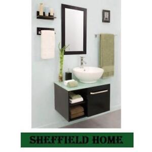 NEW* SH PALMA 27.5 VANITY COMBO - 129361555 - SHEFFIELD HOME - VANITY CABINET,GLASS TOP, MIRROR AND WALL MOUNTS - BAT...