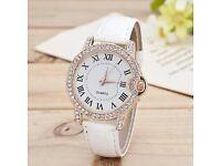 Womens Stainless Steel Crystal Diamond Dial Quartz Watch