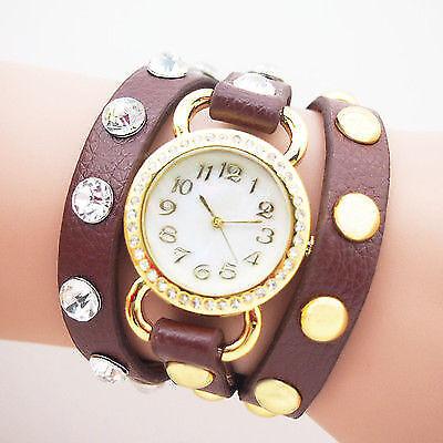 Damen Uhr  Armband Braun Gold  Strass Leder Nieten Armbanduhr Wickeluhr   U1247