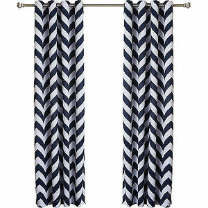 Pair of Navy Blue Chevron Print Room Darkening Curtain Panels