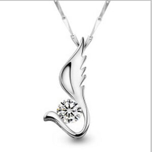 18k GP Hearts and Arrows Pattern Crystal Invisible Wings Pendant Necklace