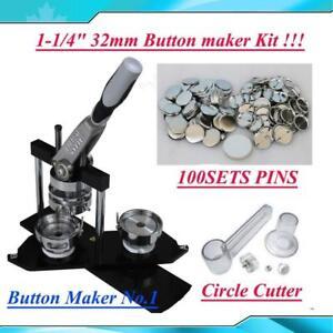 """Pro 1-1/4"""" 32mm Kit! Badge Button Maker Machine+Circle Cutter+100 Pin Badge DIY"""