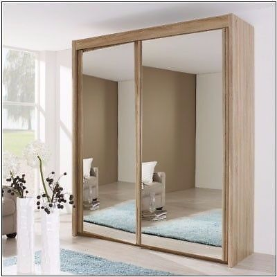 MODERN SLIDING DOOR WARDROBE OAK SLIDING WARDROBE 4 SIZES GLASS MIRROR