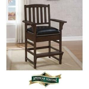 NEW AMERICAN HERITAGE KING CHAIR - 122616250 - KING BAR HEIGHT STORAGE DRAWER CHAIRS SEATING SEATS NAILHEAD BARS DECOR