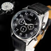 CLASSIC AUTOMATIC MENS WATCH LEATHER STITCHED STRAP NICE