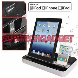 DOCKING STATION SPEAKER WITH DUAL CHARGER ADAPTER IPHONE 5 4S IPAD MINI 4 3 2