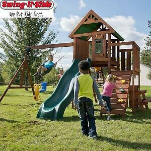 NEW SWING N SLIDE SWING PLAY SET PB 9241-1 200214359 KNIGHTSBRIDGE WOOD COMPLETE