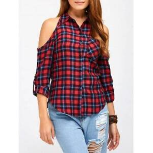 Plaid Cold Shoulder Buttoned Blouse - XL DEEP RED Ultimo Inner Sydney Preview