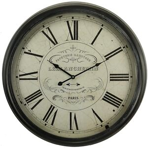 LARGE French Round Iron Case Wall Clock Paris 62.5cm Roman Numeral Paris metal