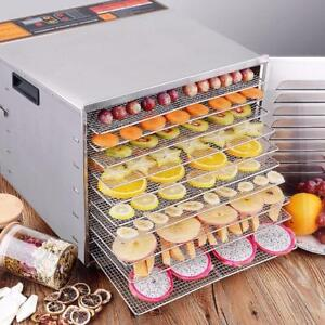 NEW 10 TRAY STAINLESS STEEL COMMERCIAL FOOD DEHYDRATOR JERKY Fruit Meat Jerky Dryer Blower