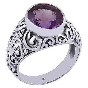 Beautiful Sterling Amethyst ladies ring, size 7