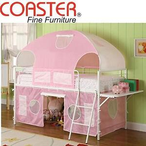 NEW COASTER GIRL TENT BUNK BED - 108858883 - TWIN SIZE - PINK