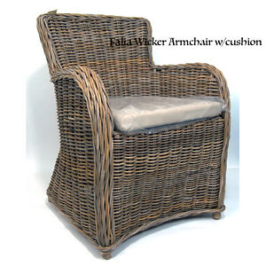 Brand New Hand Woven Rattan Dining Chair Arm Chair Kobu