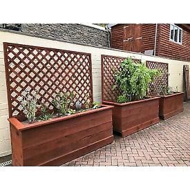 Treated wood planters