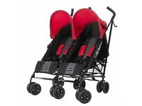 Obaby double pushchair with footmuffs