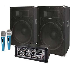 COMPLETE PA SYSTEM, 2-Speaker's, Mixer/Amp, Cable's, & 2-Mic's