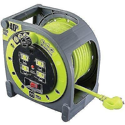 Masterplug Heavy Duty Extension Cord Case Reel with 4 120V / 10 amp Integrated