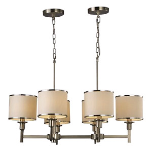 Brand New 6-Light Kate Satin Nickel and White Shade Chandelier