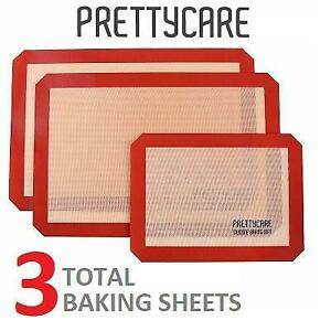 NEW 3PK SILICONE BAKING MAT SET BM -043 241790177 PRETTYCARE NON STCK COOKIE BAKING SUPPLIES FOR BAKE PANS AND TOASTE...