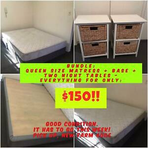 BUNDLE:  QUEEN SIZE MATRESS + BASE + TWO NIGHT TABLES - $150 New Farm Brisbane North East Preview