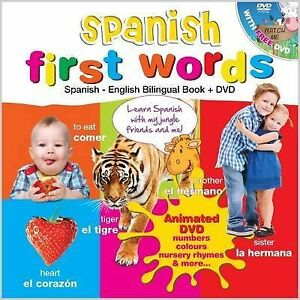 Spanish First Words Spanish - English Bilingual Book &  DVD  for Kids - NEW