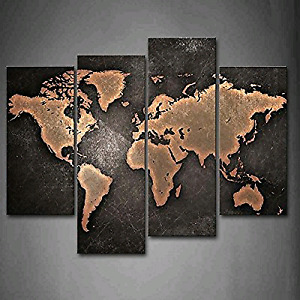 NEW 4 Panel World Map Black Background Wall Art On Canvas