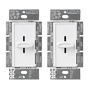 New Lutron Skylark 600W Slide-Off Dimmer in White (2-pack) S-600H-2PK-WH-C