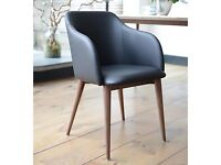 Dwell Leather Dining Chairs Black Leather & Walnut x2 almost new cost £229 each