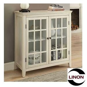 NEW LINON DOUBLE DOOR CABINET LARGO ANTIQUE WHITE - GLASS DOORS 105402934