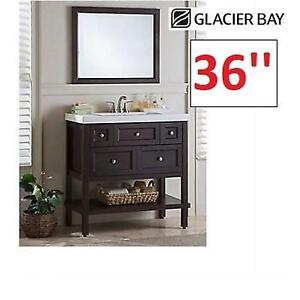 "NEW* GLACIER BAY VANITY SET 36"" ALIIP3C-CH 224305741 WITH MIRROR CHOCOLATE 3 DRAWER ASHLAND"