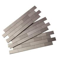 Brushed stainless mini-subway peel 'n stick tile