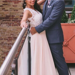 Prom dress white and rose / blush champagne  size 4 Kitchener / Waterloo Kitchener Area image 2