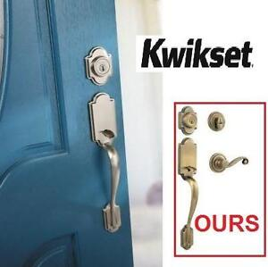 NEW KWIKSET SING CYL HANDLESET Arlington Single Cylinder w/Lido Lever featuring SmartKey in Antique Brass 102588405
