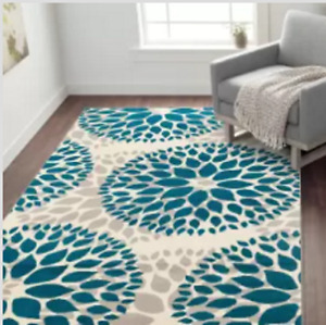 Teal Blue Area Rug Floral Circles New